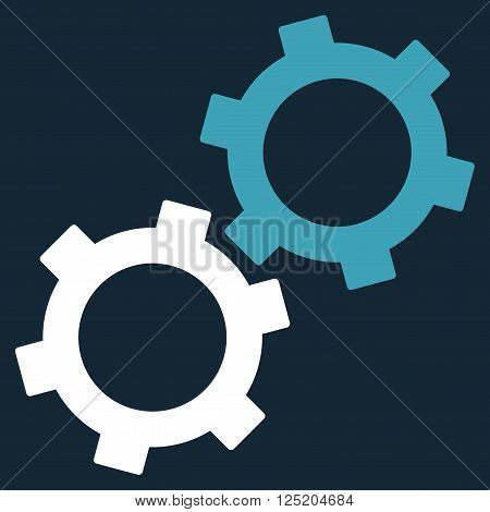 Gears vector icon. Gears icon symbol. Gears icon image. Gears icon picture. Gears pictogram. Flat blue and white gears icon. Isolated gears icon graphic. Gears icon illustration.