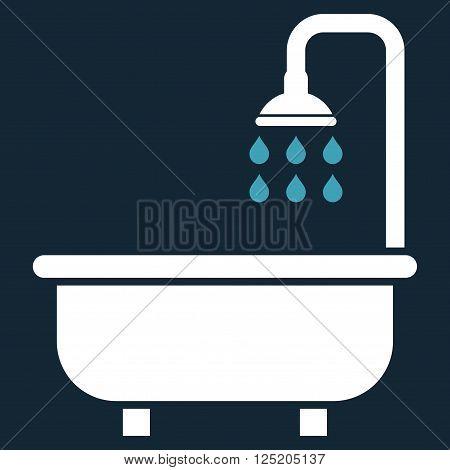 Shower Bath vector icon. Shower Bath icon symbol. Shower Bath icon image. Shower Bath icon picture. Shower Bath pictogram. Flat blue and white shower bath icon. Isolated shower bath icon graphic.