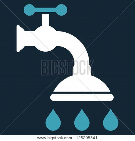 Shower Tap vector icon. Shower Tap icon symbol. Shower Tap icon image. Shower Tap icon picture. Shower Tap pictogram. Flat blue and white shower tap icon. Isolated shower tap icon graphic.