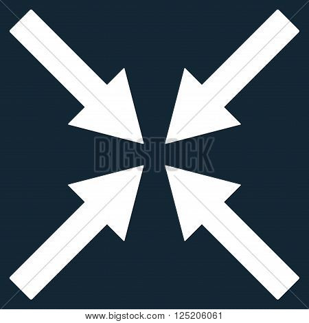 Center Arrows vector icon. Center Arrows icon symbol. Center Arrows icon image. Center Arrows icon picture. Center Arrows pictogram. Flat white center arrows icon. Isolated center arrows icon graphic.
