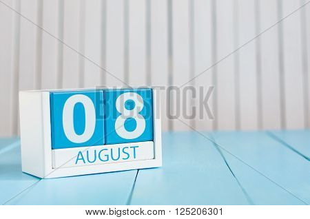 August 8th. Image of august 8 calendar on white background. Summer. Empty space for text. International Alpinist Day.