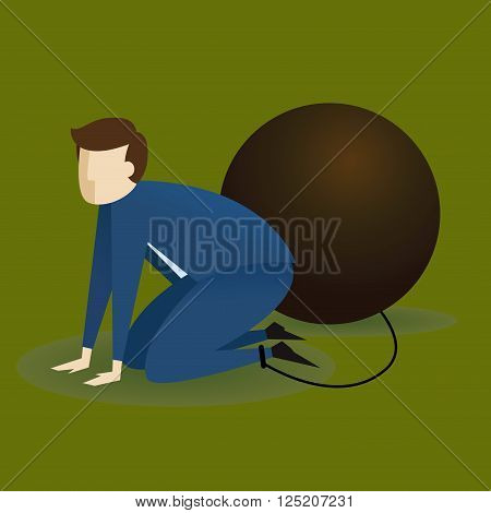 Vector stock of a businessman on his knees chained to big weight