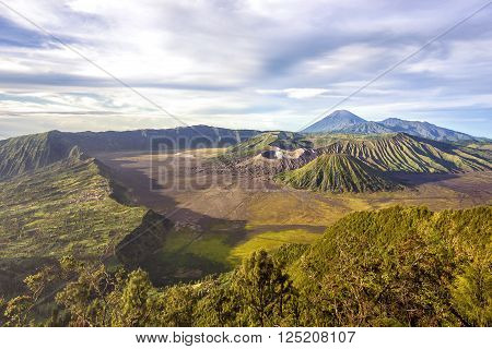 Mount Bromo, Mt Batok and Gunung Semeru in Java, Indonesia.