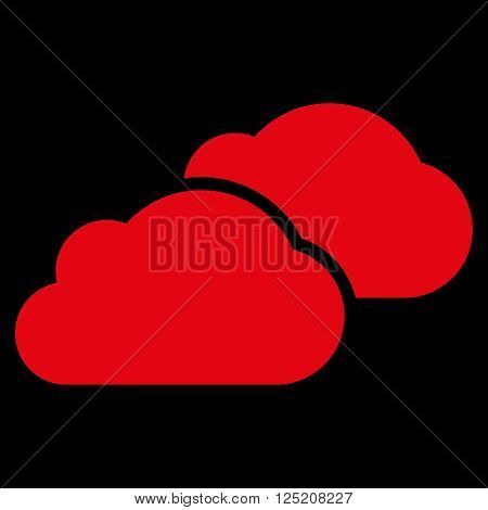 Clouds vector icon. Clouds icon symbol. Clouds icon image. Clouds icon picture. Clouds pictogram. Flat red clouds icon. Isolated clouds icon graphic. Clouds icon illustration.