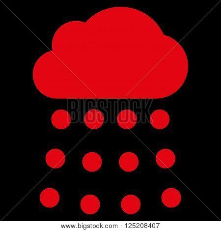 Rain Cloud vector icon. Rain Cloud icon symbol. Rain Cloud icon image. Rain Cloud icon picture. Rain Cloud pictogram. Flat red rain cloud icon. Isolated rain cloud icon graphic.
