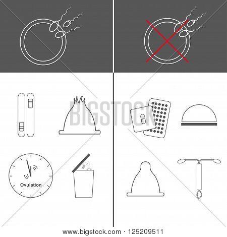 Contraception methods. Vector icon set. Safe sex. Contraceptives. Unwanted pregnancy. Factors influencing pregnancy. Modern methods of contraception. Thin line.