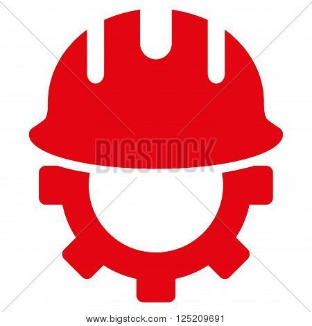 Development Hardhat vector icon. Development Hardhat icon symbol. Development Hardhat icon image. Development Hardhat icon picture. Development Hardhat pictogram. Flat red development hardhat icon.