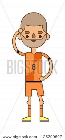 Soccer player action game and strong active soccer player. Soccer player football sport game athlete. Soccer player kicking ball competition sport young person flat vector illustration.