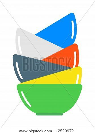 Dish soup bowl and soup bowl food. Dinner soup bowl plate healthy restaurant lunch ceramic container. Gourmet cook tableware. Bowls soup pile composition in merging color flat vector illustration.