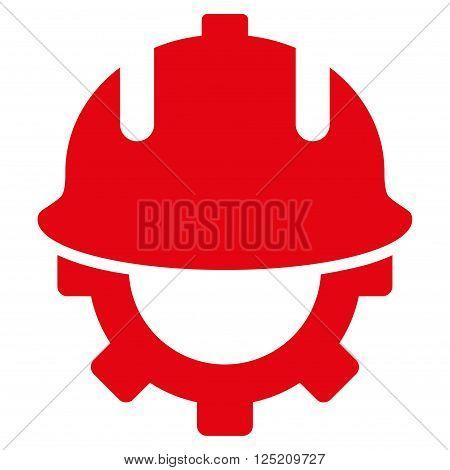 Development Helmet vector icon. Development Helmet icon symbol. Development Helmet icon image. Development Helmet icon picture. Development Helmet pictogram. Flat red development helmet icon.