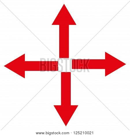 Expand Arrows vector icon. Expand Arrows icon symbol. Expand Arrows icon image. Expand Arrows icon picture. Expand Arrows pictogram. Flat red expand arrows icon. Isolated expand arrows icon graphic.