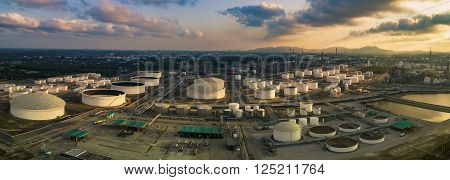aerial view panorama view of oil refinery storage tank in heavy petrochemical industry plant site