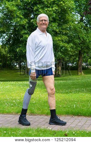 Smiling Senior Man With False Leg