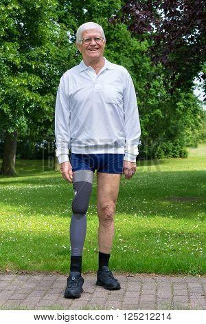 Happy Senior Man With False Leg