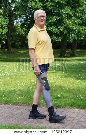 Happy Older Man Walking With Prosthetic Leg