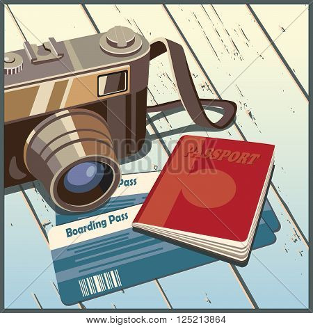 Stylized vector illustration on the theme of travel and photography