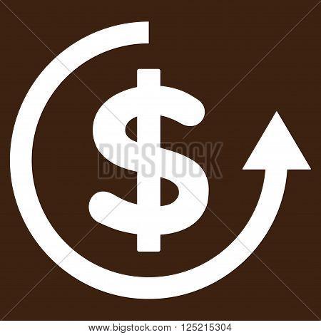 Refund vector icon. Refund icon symbol. Refund icon image. Refund icon picture. Refund pictogram. Flat white refund icon. Isolated refund icon graphic. Refund icon illustration.