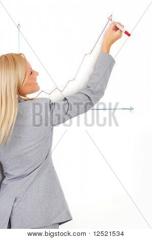 business woman draws a graph on the wall