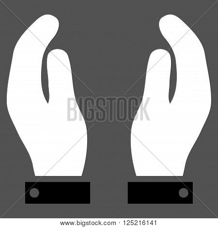 Care Hands vector icon. Care Hands icon symbol. Care Hands icon image. Care Hands icon picture. Care Hands pictogram. Flat black and white care hands icon. Isolated care hands icon graphic.