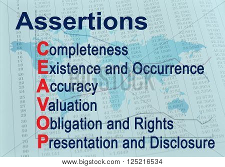 Assertions CEAVOP - Financial auditing acronym. Business poster