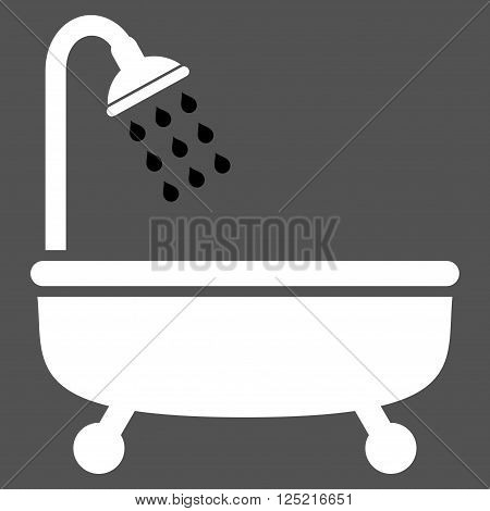Shower Bath vector icon. Shower Bath icon symbol. Shower Bath icon image. Shower Bath icon picture. Shower Bath pictogram. Flat black and white shower bath icon. Isolated shower bath icon graphic.
