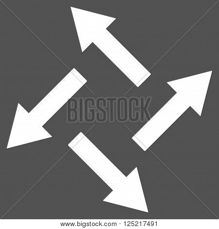 Centrifugal Arrows vector icon. Centrifugal Arrows icon symbol. Centrifugal Arrows icon image. Centrifugal Arrows icon picture. Centrifugal Arrows pictogram. Flat white centrifugal arrows icon.