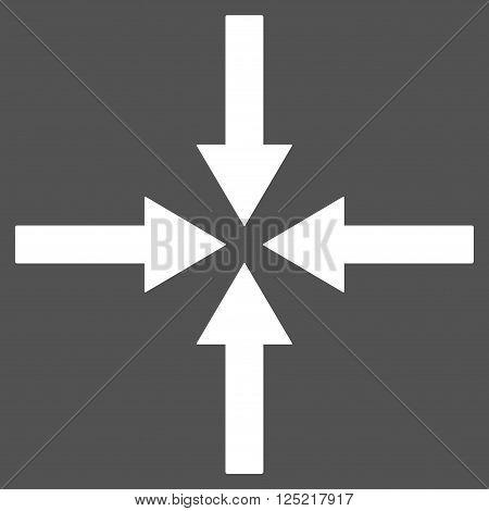 Impact Arrows vector icon. Impact Arrows icon symbol. Impact Arrows icon image. Impact Arrows icon picture. Impact Arrows pictogram. Flat white impact arrows icon. Isolated impact arrows icon graphic.