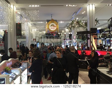 NEW YORK, NY - DEC 20: Christmas decor at Macy's flagship store at Herald Square in New York, as seen on Dec 20, 2015. It features about 1.1 million square feet of retail space.