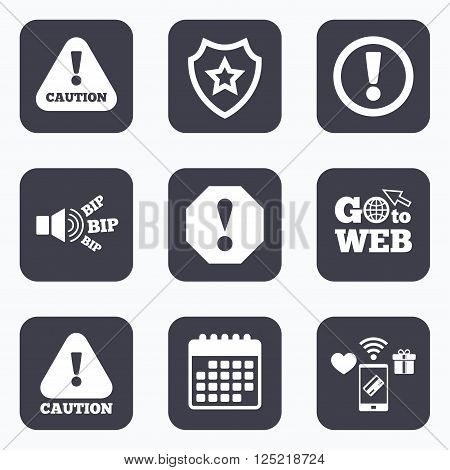 Mobile payments, wifi and calendar icons. Attention caution icons. Hazard warning symbols. Exclamation sign. Go to web symbol.
