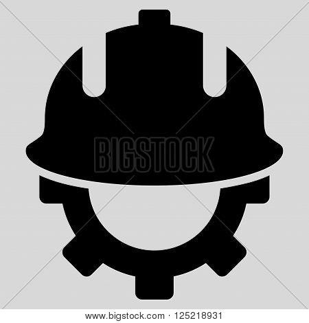 Development Helmet vector icon. Development Helmet icon symbol. Development Helmet icon image. Development Helmet icon picture. Development Helmet pictogram. Flat black development helmet icon.