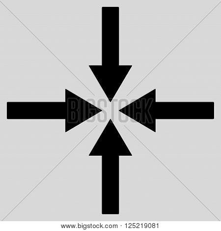 Impact Arrows vector icon. Impact Arrows icon symbol. Impact Arrows icon image. Impact Arrows icon picture. Impact Arrows pictogram. Flat black impact arrows icon. Isolated impact arrows icon graphic.