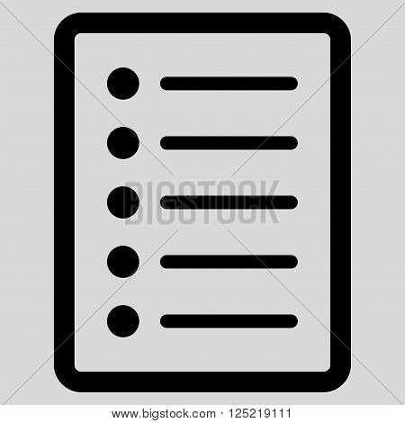 List Page vector icon. List Page icon symbol. List Page icon image. List Page icon picture. List Page pictogram. Flat black list page icon. Isolated list page icon graphic.
