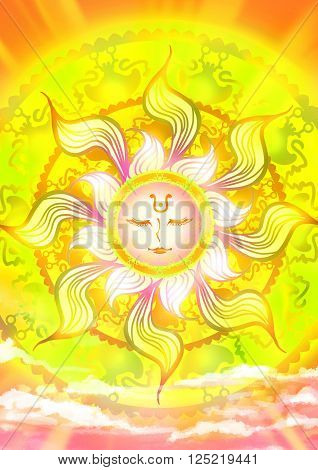 Cartoon illustration of a sun god in the sky with shinning sunlight ancient pattern ray in mother of nature and fairy tale concept