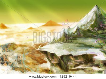 Cartoon illustration of cute white rabbit bunny is standing overhanging rock cliff in the beautiful mountain valley scene with sunlight shinning