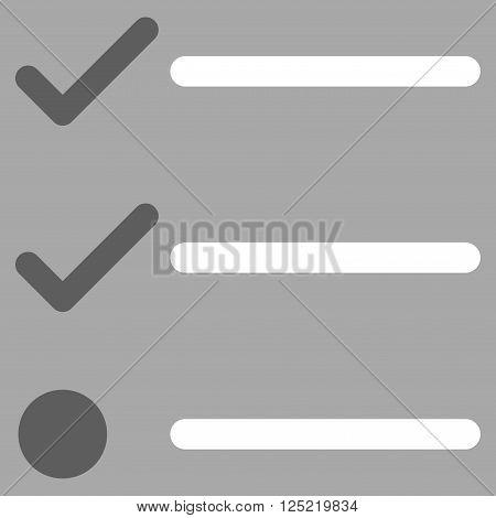 Checklist vector icon. Checklist icon symbol. Checklist icon image. Checklist icon picture. Checklist pictogram. Flat dark gray and white checklist icon. Isolated checklist icon graphic.