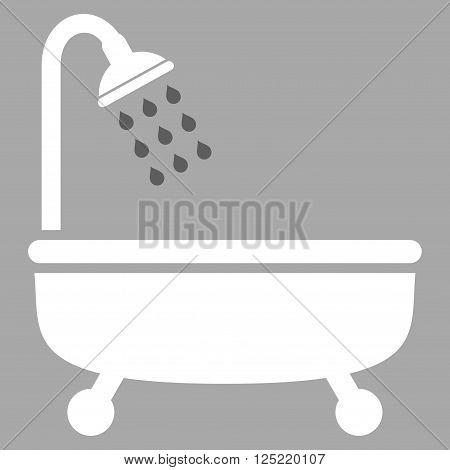 Shower Bath vector icon. Shower Bath icon symbol. Shower Bath icon image. Shower Bath icon picture. Shower Bath pictogram. Flat dark gray and white shower bath icon. Isolated shower bath icon graphic.