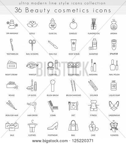 Vector Beauty and Cosmetics ultra modern outline line icons for web and apps
