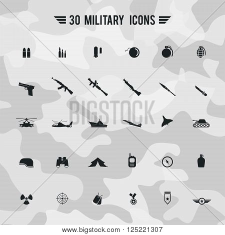 Flat military army and soldier weapon transportation sign and symbol such as gun grenade tank jet and badges silhouette icon collection set with camouflage background create by vector
