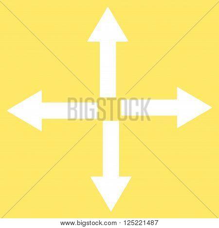 Expand Arrows vector icon. Expand Arrows icon symbol. Expand Arrows icon image. Expand Arrows icon picture. Expand Arrows pictogram. Flat white expand arrows icon. Isolated expand arrows icon graphic.
