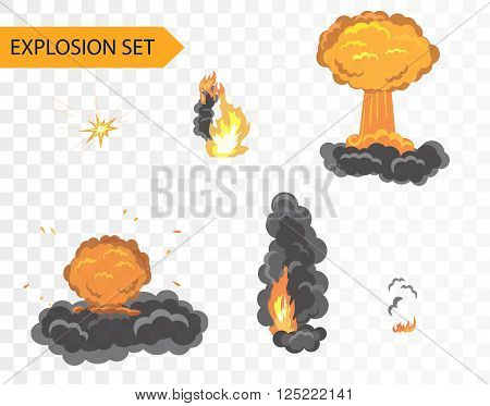 Explode animation effect. Vector cartoon explosion set on alpha background