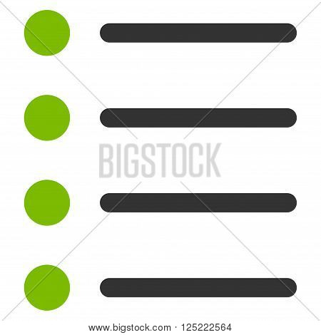Items vector icon. Items icon symbol. Items icon image. Items icon picture. Items pictogram. Flat eco green and gray items icon. Isolated items icon graphic. Items icon illustration.
