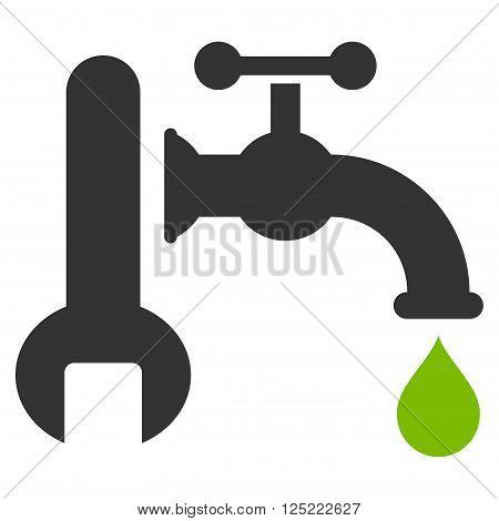 Plumbing vector icon. Plumbing icon symbol. Plumbing icon image. Plumbing icon picture. Plumbing pictogram. Flat eco green and gray plumbing icon. Isolated plumbing icon graphic.