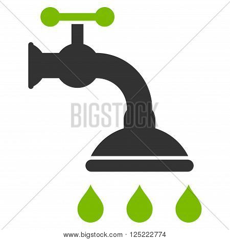 Shower Tap vector icon. Shower Tap icon symbol. Shower Tap icon image. Shower Tap icon picture. Shower Tap pictogram. Flat eco green and gray shower tap icon. Isolated shower tap icon graphic.