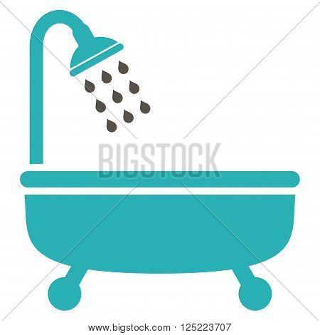 Shower Bath vector icon. Shower Bath icon symbol. Shower Bath icon image. Shower Bath icon picture. Shower Bath pictogram. Flat grey and cyan shower bath icon. Isolated shower bath icon graphic.