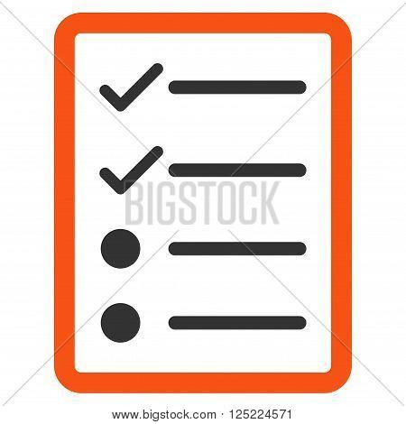 Checklist Page vector icon. Checklist Page icon symbol. Checklist Page icon image. Checklist Page icon picture. Checklist Page pictogram. Flat orange and gray checklist page icon.