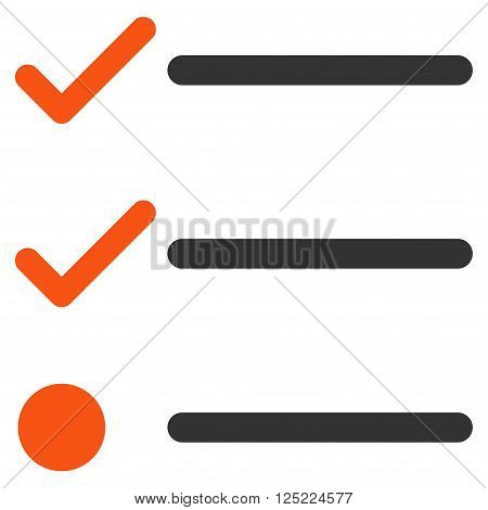 Checklist vector icon. Checklist icon symbol. Checklist icon image. Checklist icon picture. Checklist pictogram. Flat orange and gray checklist icon. Isolated checklist icon graphic.