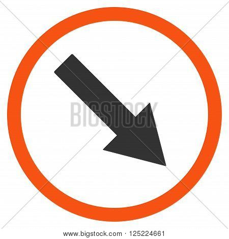 Down-Right Rounded Arrow vector icon. Down-Right Rounded Arrow icon symbol. Down-Right Rounded Arrow icon image. Down-Right Rounded Arrow icon picture. Down-Right Rounded Arrow pictogram.