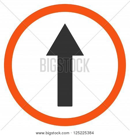 Up Rounded Arrow vector icon. Up Rounded Arrow icon symbol. Up Rounded Arrow icon image. Up Rounded Arrow icon picture. Up Rounded Arrow pictogram. Flat orange and gray up rounded arrow icon.