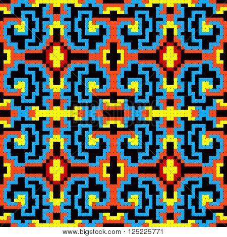 Beautiful small colored pixels geometric seamless pattern vector illustration