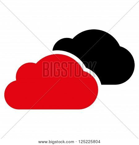 Clouds vector icon. Clouds icon symbol. Clouds icon image. Clouds icon picture. Clouds pictogram. Flat intensive red and black clouds icon. Isolated clouds icon graphic. Clouds icon illustration.